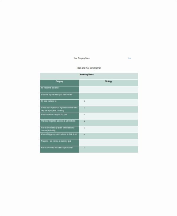 1 Page Marketing Plan Template Awesome E Page Marketing Template – 7 Free Word Pdf Documents