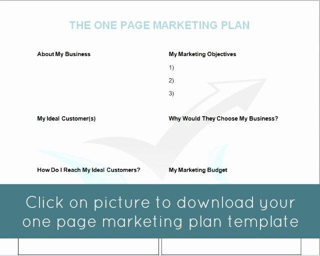 1 Page Marketing Plan Template Beautiful the E Page Marketing Plan Mymarketormymarketor