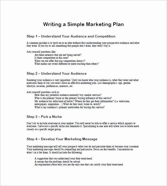 1 Page Marketing Plan Template Elegant 19 Simple Marketing Plan Templates Doc Pdf