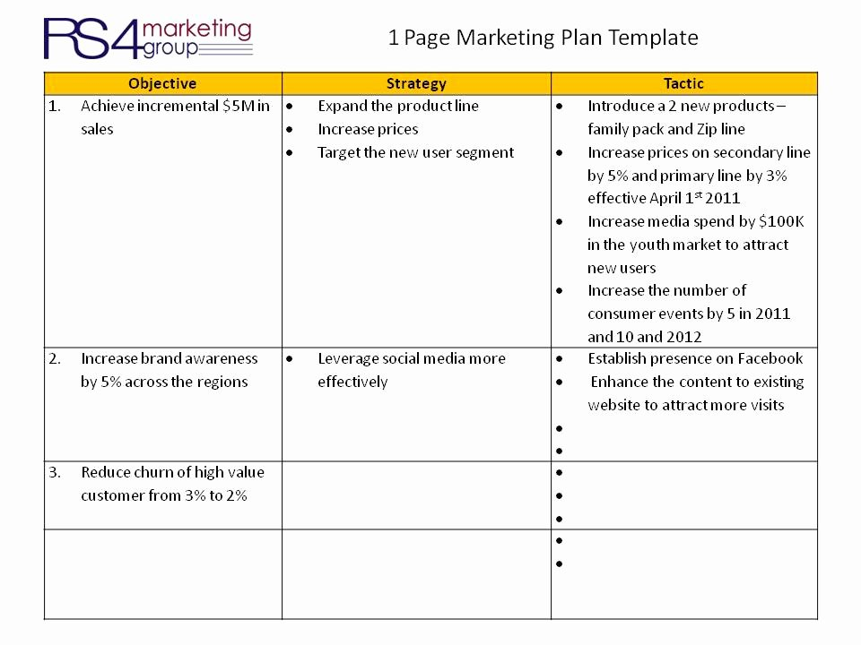 1 Page Marketing Plan Template Lovely E Page Marketing Plan Rs4