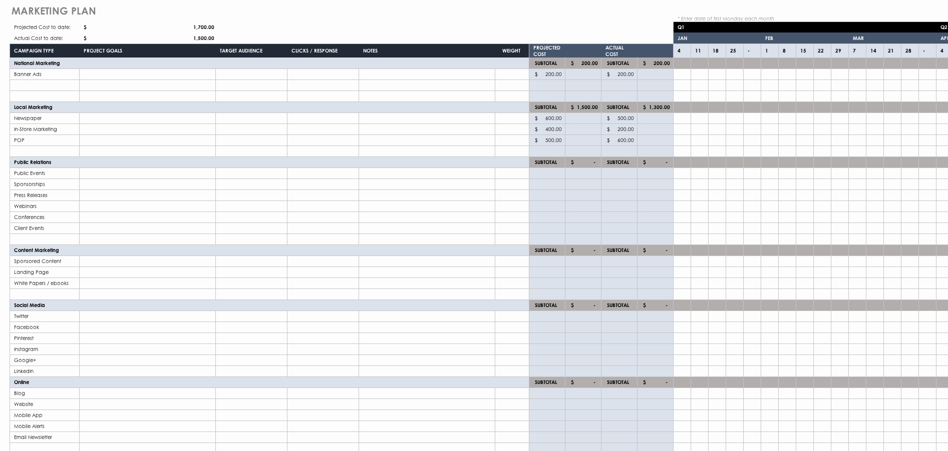 1 Page Marketing Plan Template New Free Marketing Plan Templates for Excel