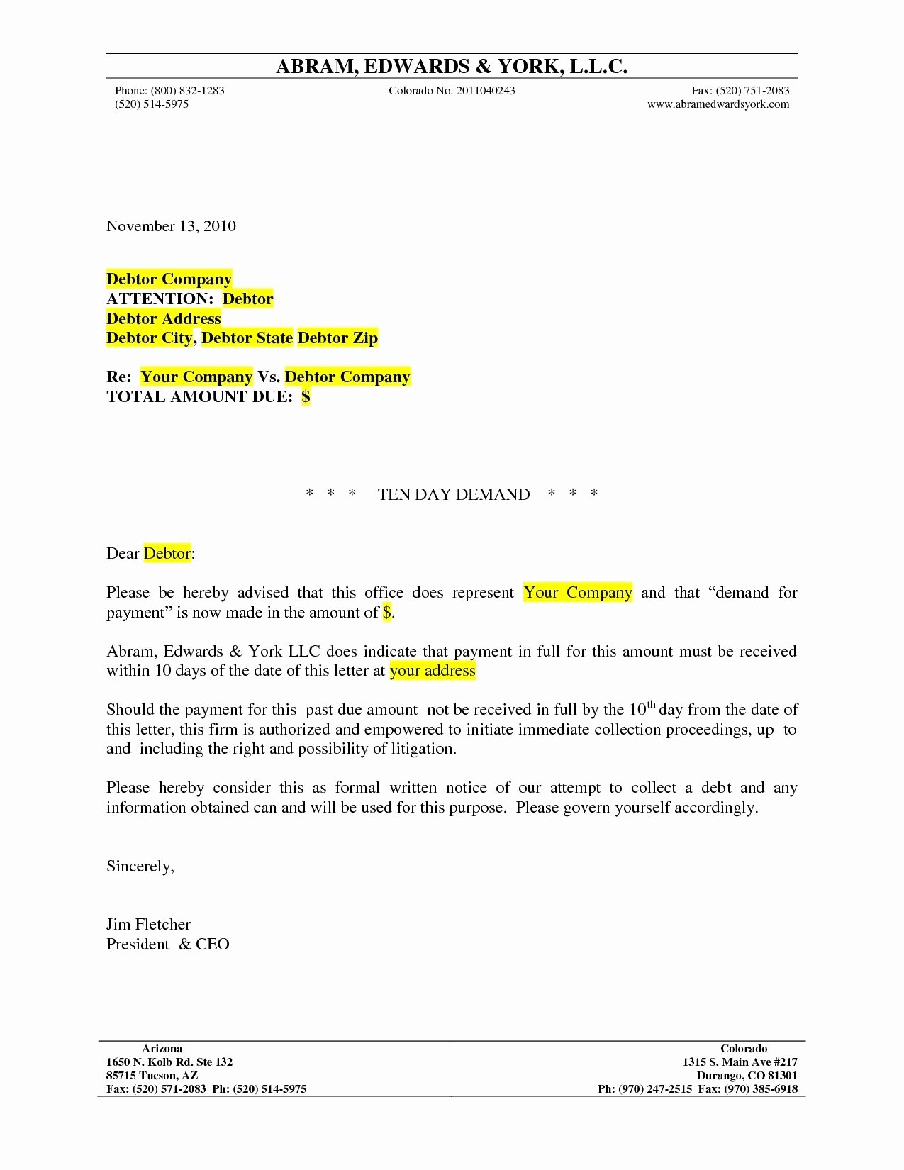 10 Day Payoff Letter Sample Awesome 10 Day Demand Letter Template Download