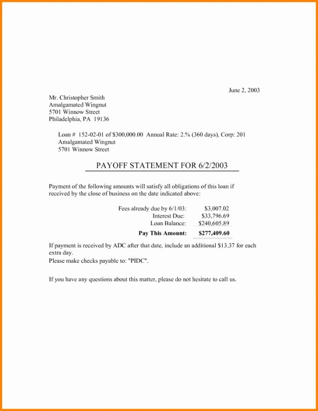 10 Day Payoff Letter Sample Beautiful Loan Payoff Letter Template