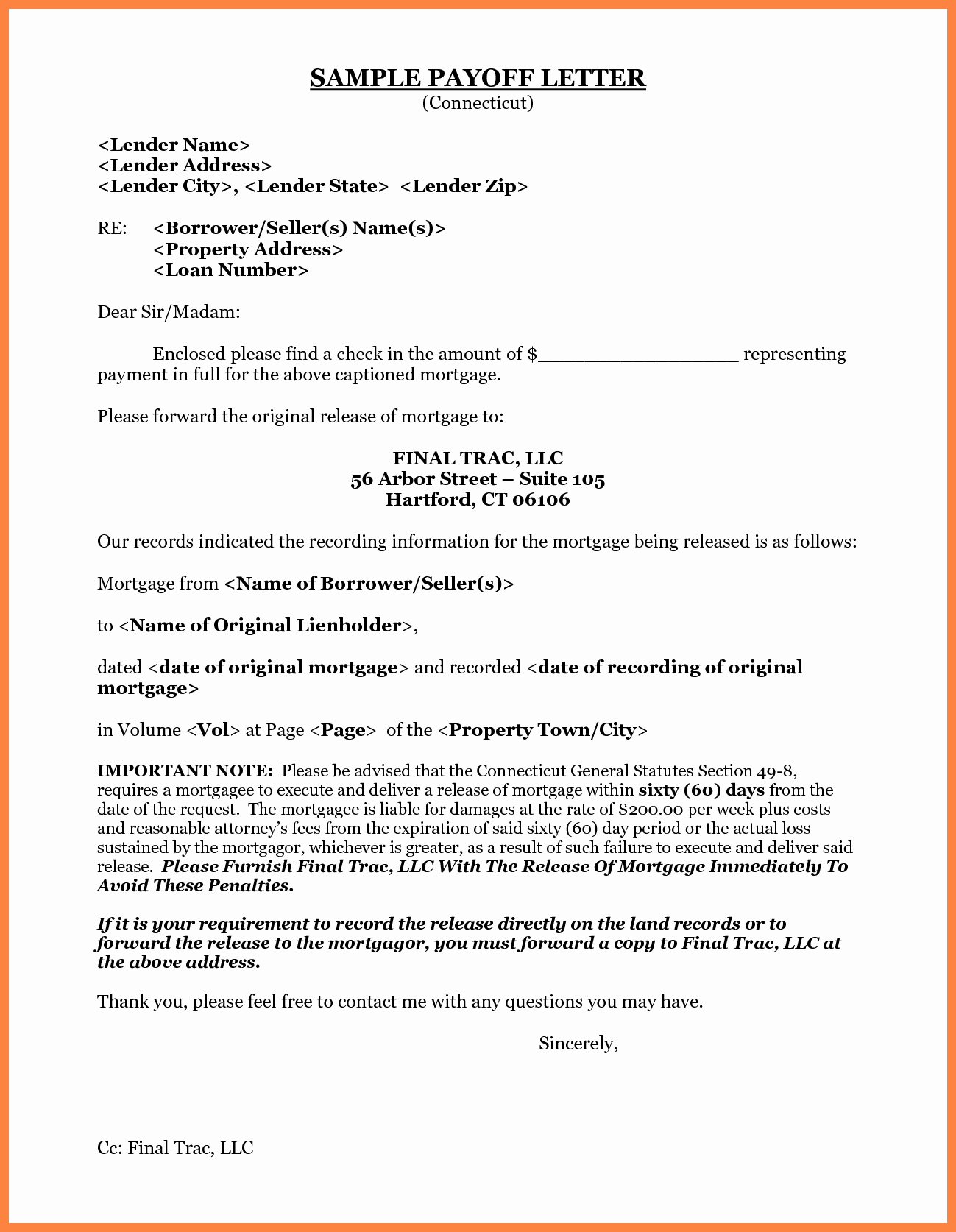 10 Day Payoff Letter Sample Fresh 10 Payoff Statement Template
