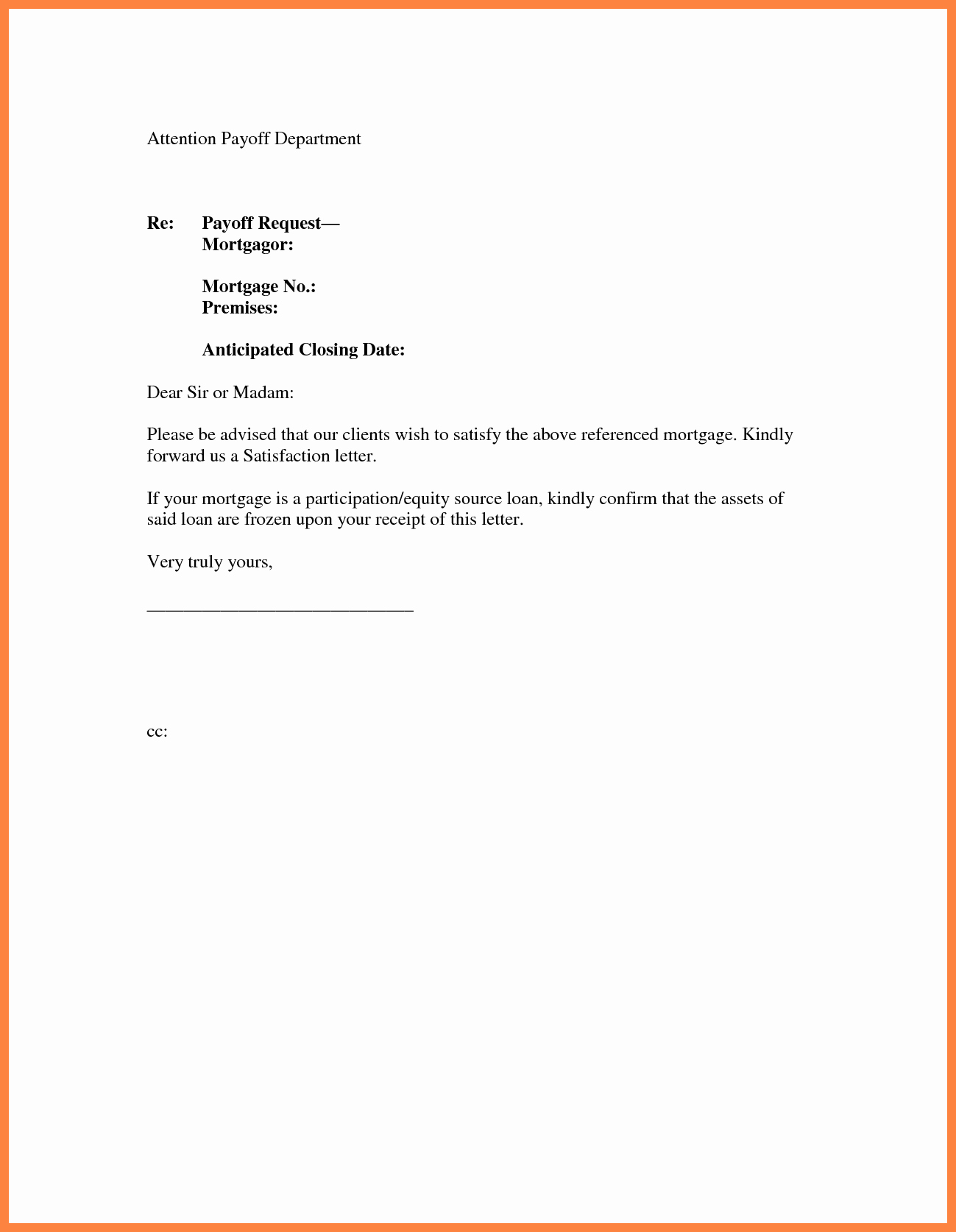 10 Day Payoff Letter Sample Unique 10 Payoff Statement Template