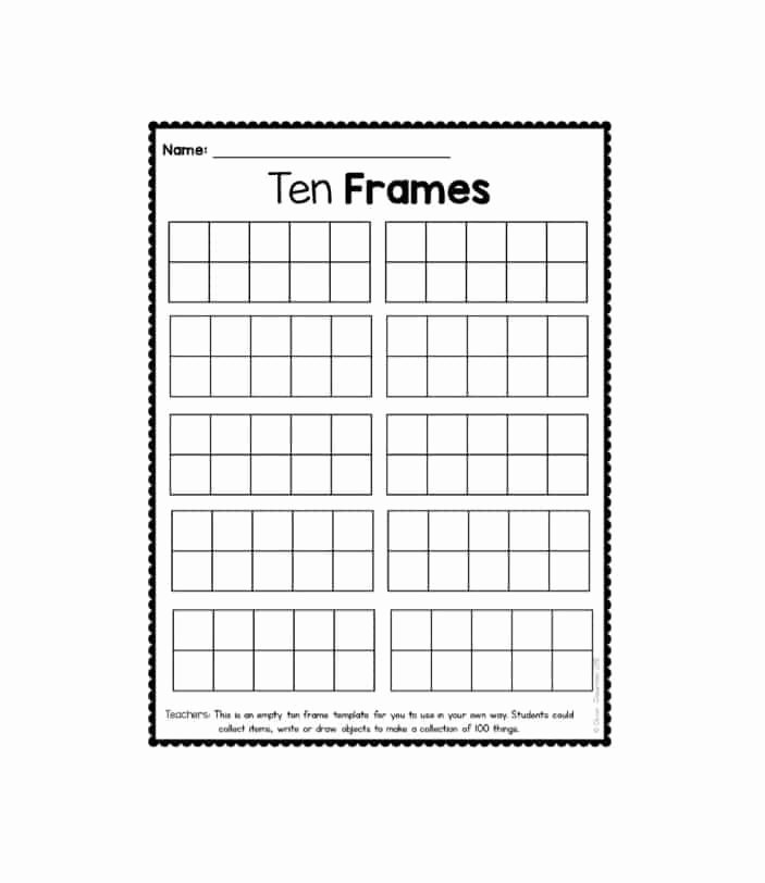 10 Frame Template Inspirational 36 Printable Ten Frame Templates Free Template Lab