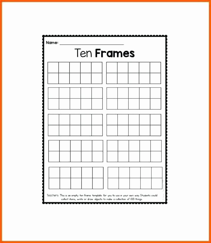 10 Frame Template Luxury Ten Frames Template with Dots