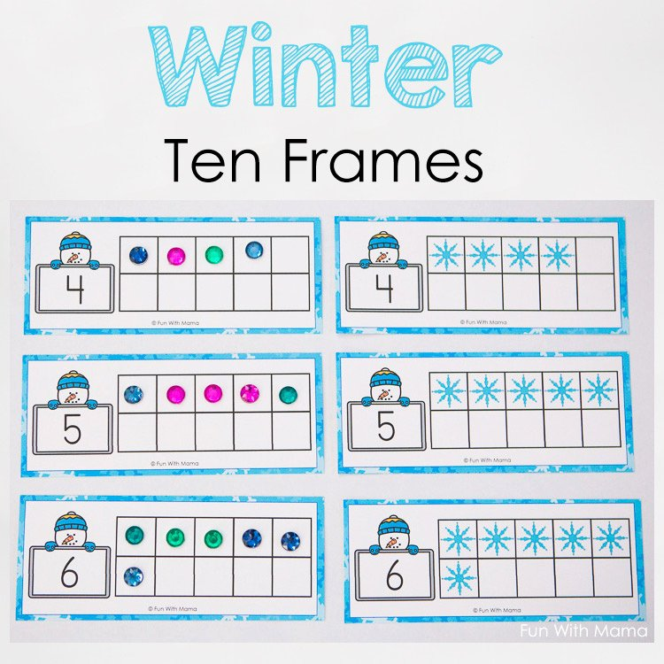 10 Frame Template Printable Elegant Snowman Winter Ten Frame Printable Fun with Mama