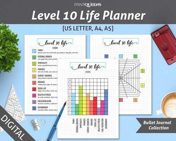 10 Year Life Plan Template Beautiful Level 10 Life Level 10 Planner Bullet Journal Template Life