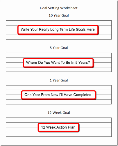 10 Year Life Plan Template Elegant Goal Setting Template 12 Week to Ten Year Goals