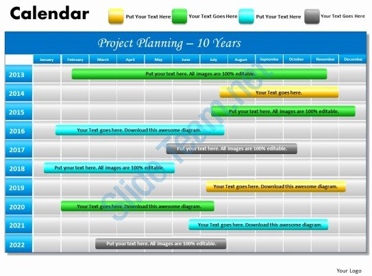 10 Year Plan Template Lovely 10 Year Planning Gantt Chart Powerpoint Slides Gantt Ppt