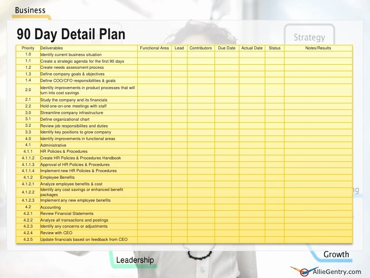 100 Day Plan Template Beautiful Chief Operating Ficer 90 Transition Plan