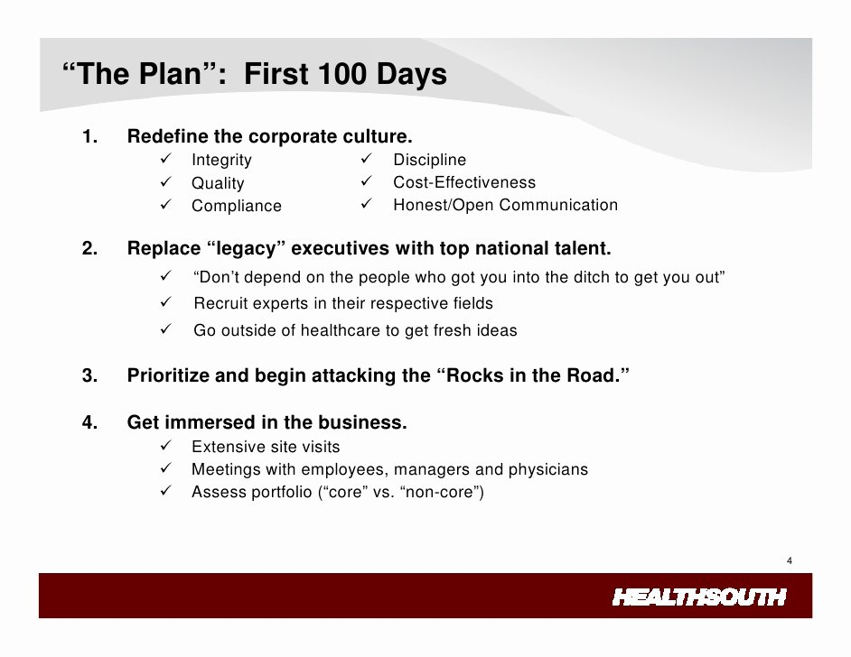 100 Day Plan Template Best Of Healthsouth Lessons Learned