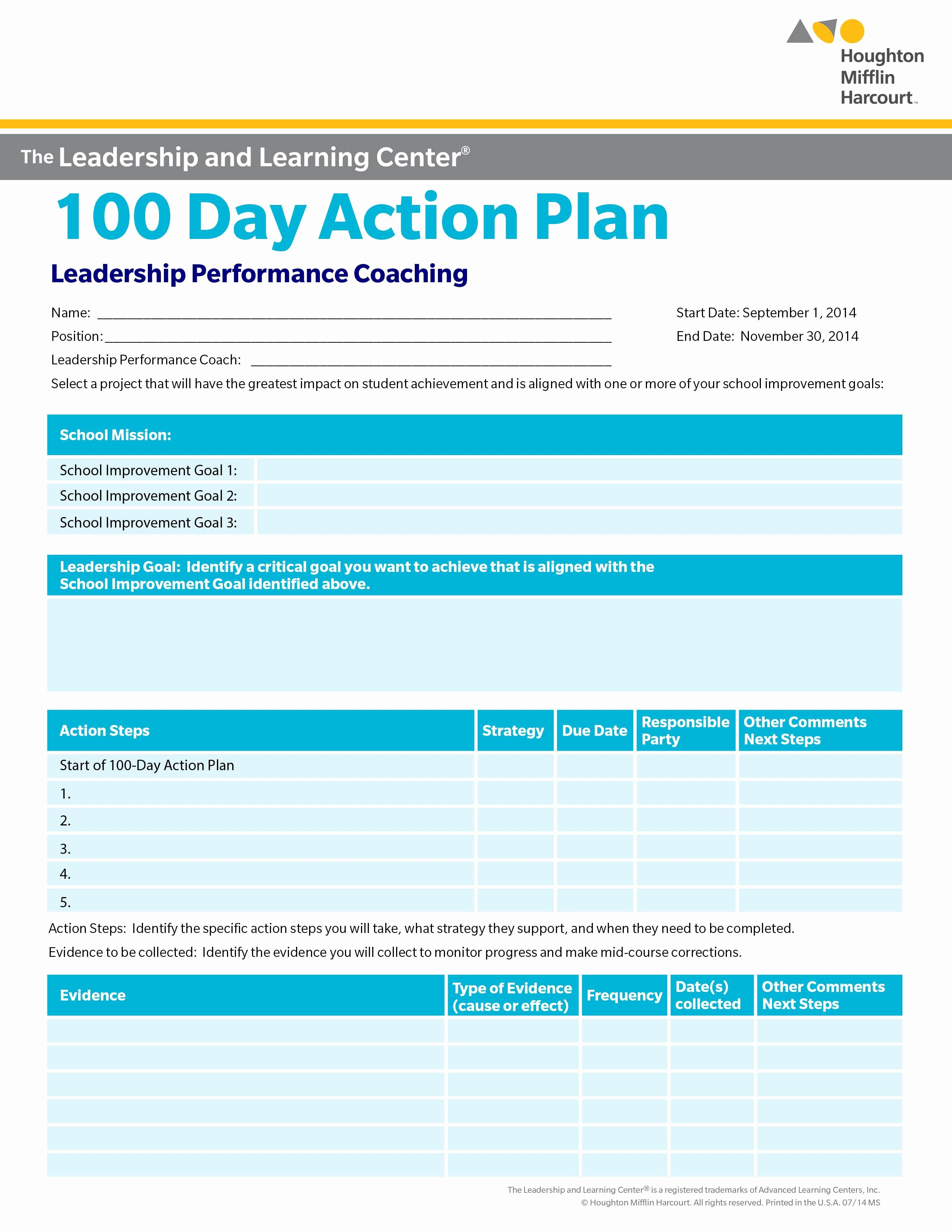 100 Day Plan Template Inspirational School Improvement 100 Day Action Plan Select A Goal for