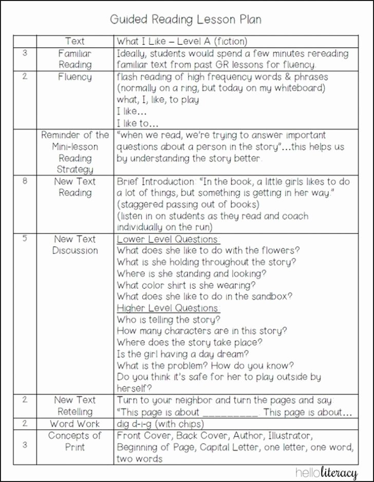 1st Grade Lesson Plan Template Awesome Guided Reading Lesson Plan Template 1st Grade