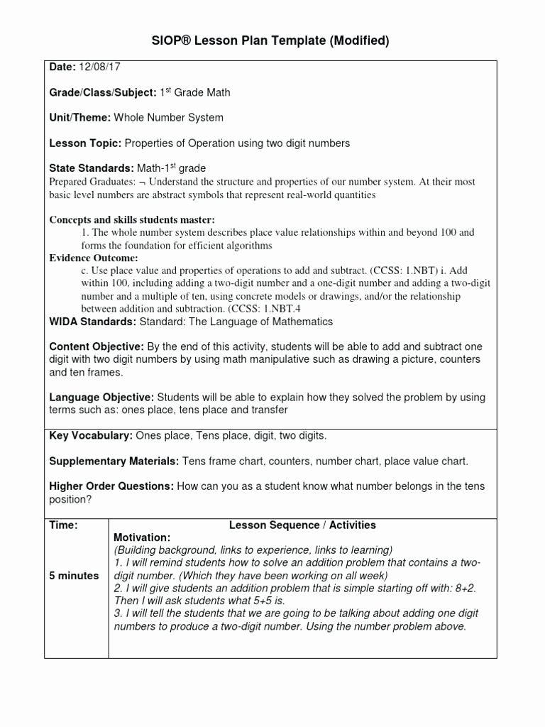 1st Grade Lesson Plan Template Best Of Siop Lesson Plan Example 2nd Grade for First