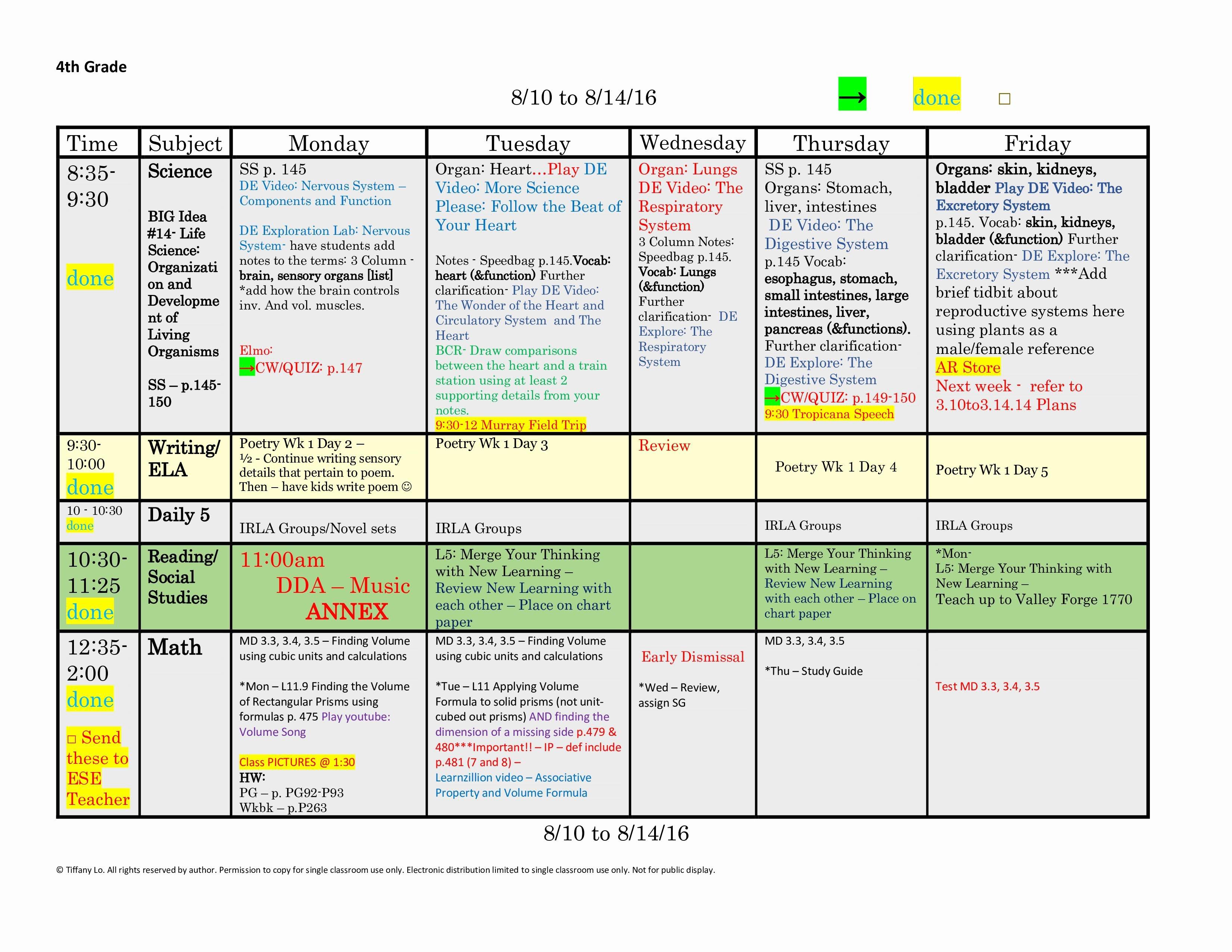1st Grade Lesson Plan Template Fresh 4th Fourth Grade Lesson Plan Template E Week E Page