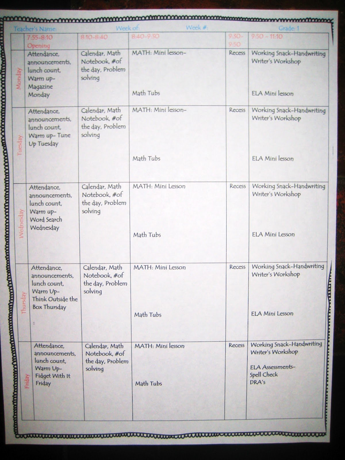 1st Grade Lesson Plan Template Lovely First Grade Wow Weekly Lesson Plan Template