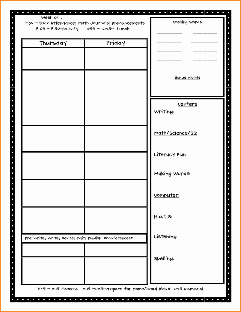 1st Grade Lesson Plan Template Luxury 5 Free Lesson Plan Template