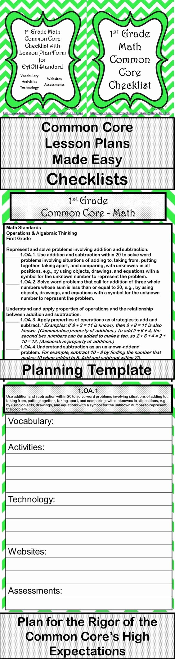 2nd Grade Lesson Plan Template Luxury 1st Grade Math Mon Core Checklist Lesson Planning