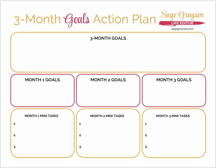 3 Year Plan Template Best Of 3 Month Goals Action Plan Free Printable Worksheet to