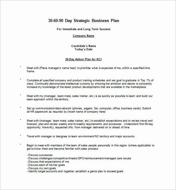 30 60 90 Plan Template New 12 30 60 90 Day Action Plan Templates Doc Pdf