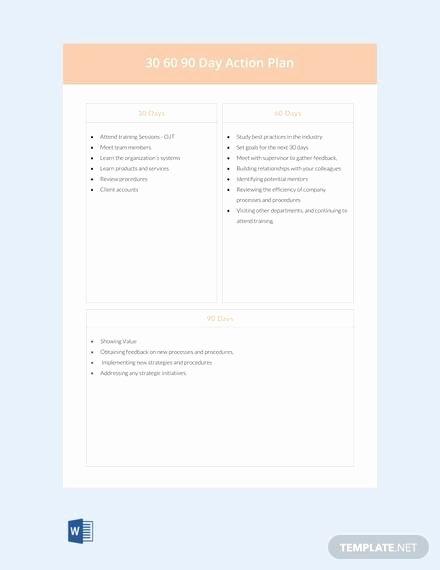 30 Day Action Plan Template Elegant 20 30 60 90 Day Plan Samples Pdf Word