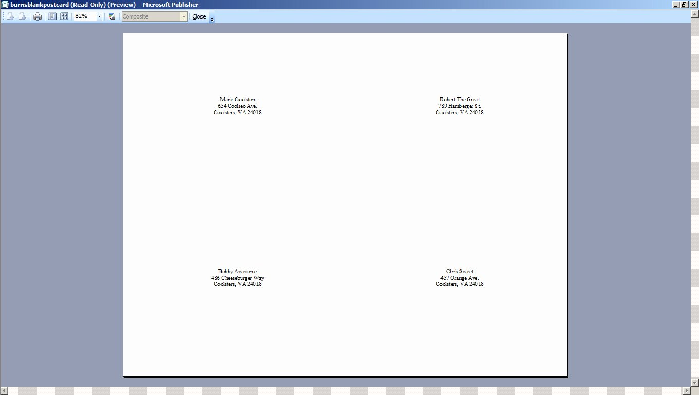 4 Per Page Template Word Fresh How to Mail Merge Four Postcards to E Sheet Burris