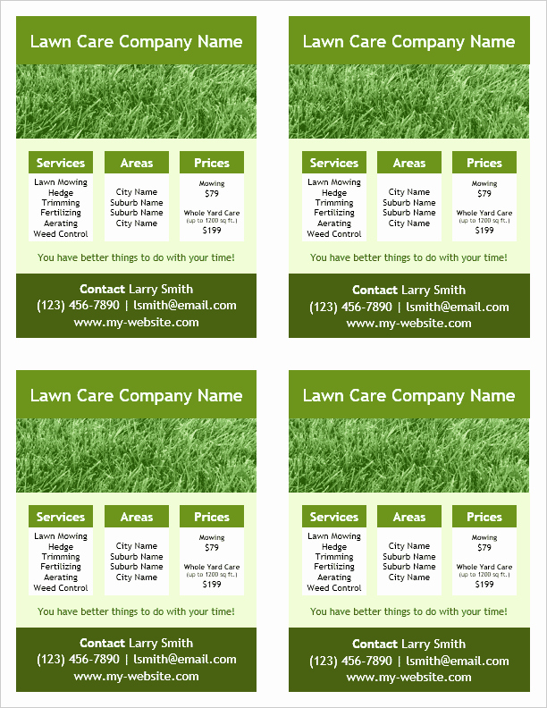 4 Per Page Template Word Inspirational Lawn Care Flyer Template for Word