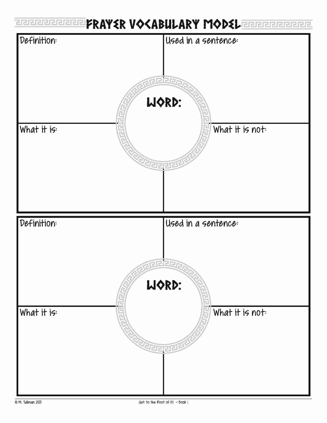 4 Per Page Template Word Lovely 4 Frayer Model Template Template Update234