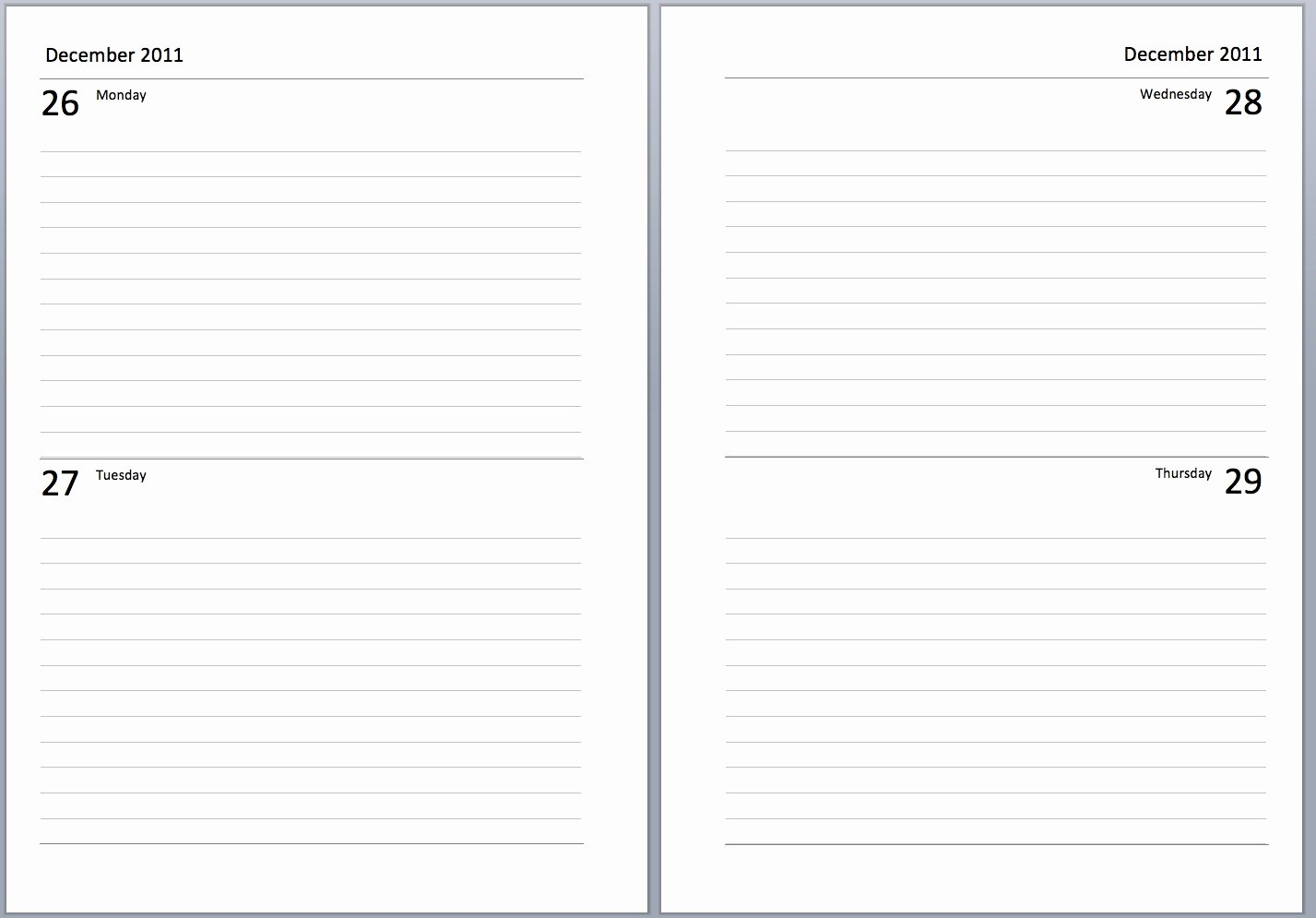 4 Per Page Template Word New Philofaxy A5 Undated Diary Layouts