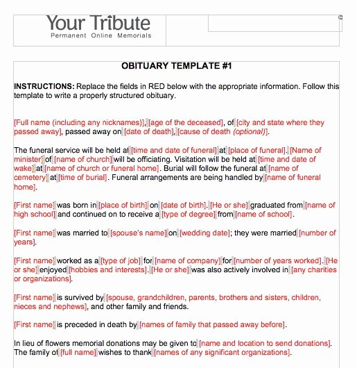 4 Section Word Template Awesome Free Obituary Templates Word Pdf Sample Template Section