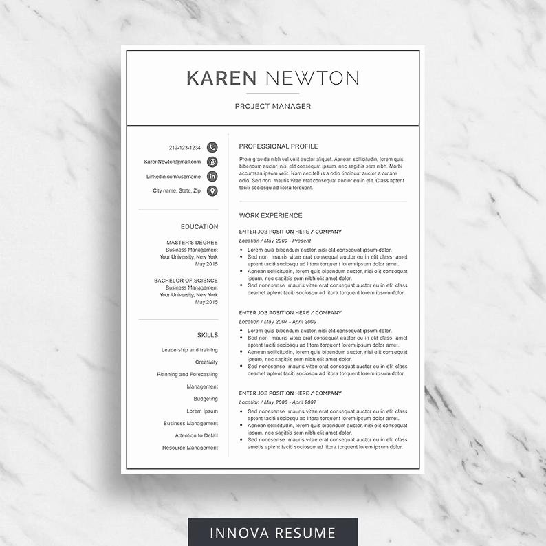 4 Section Word Template Unique Modern Resume Template for Word Minimalist Resume Design 2