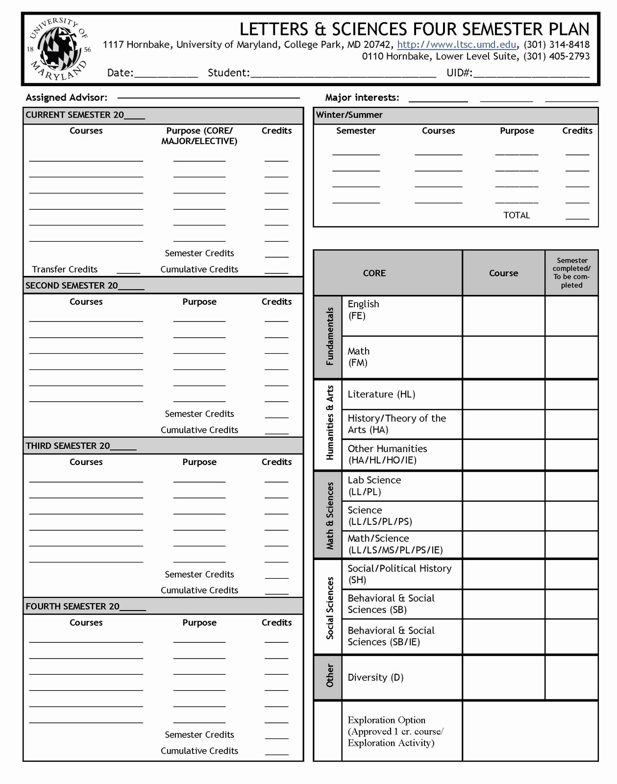 4 Year College Plan Template Fresh Ltsc Academic Advising Fall 2011