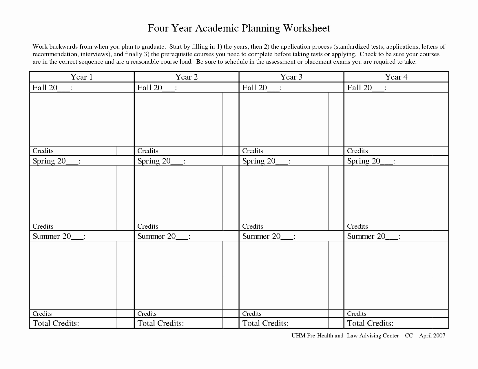 4 Year College Plan Template Lovely 11 Best Of Four Year Course Planning Worksheet
