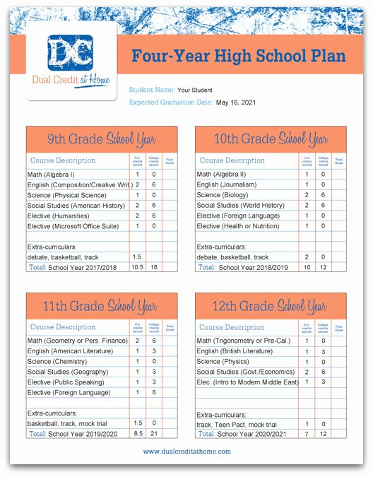 4 Year College Plan Template Lovely Four Year High School Plan Template Dual Credit at Home