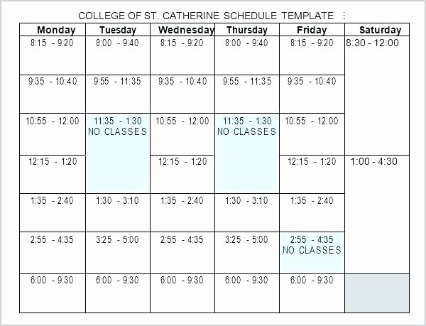4 Year College Plan Template New Blank School Schedule Template Elementary Weekly Sample