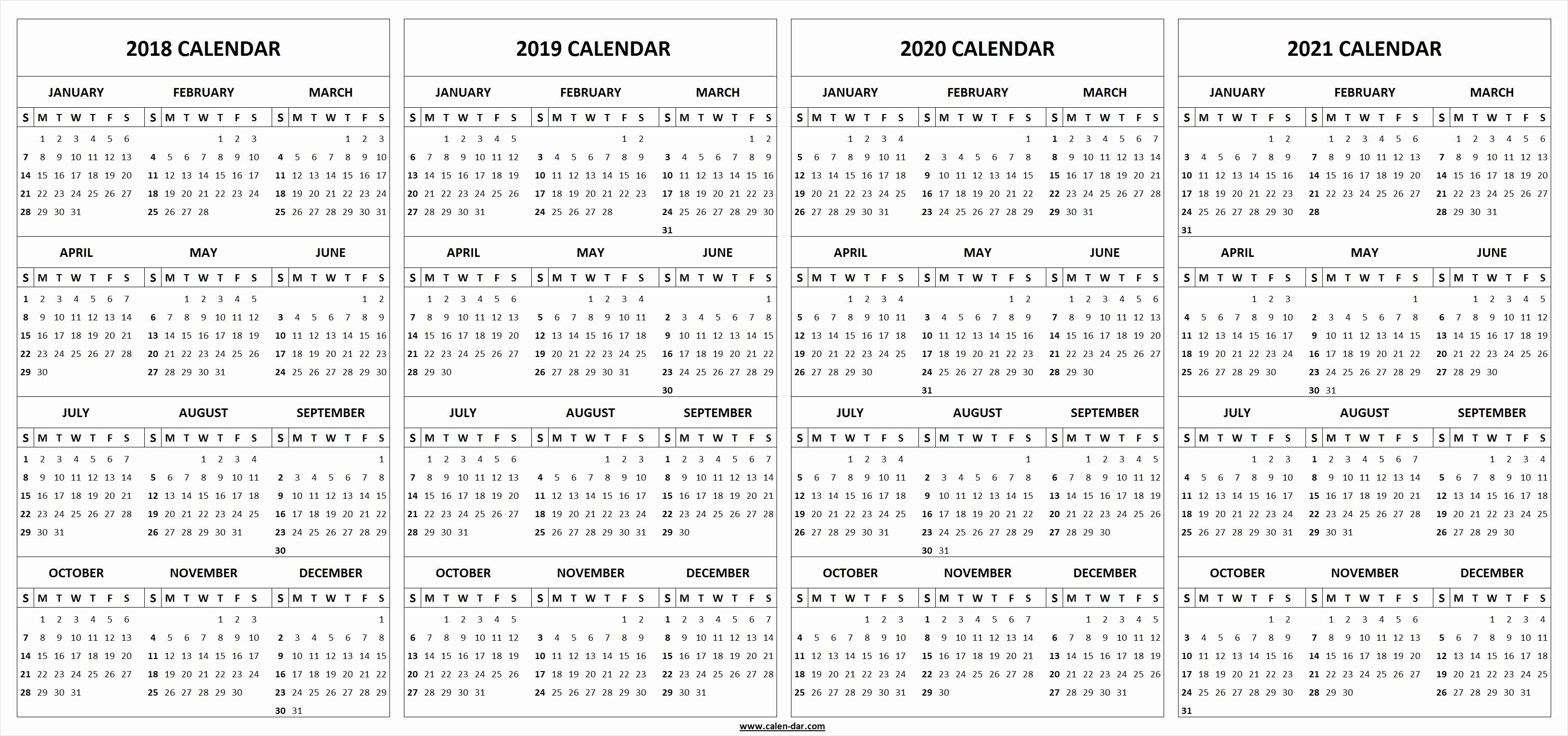 4 Year Plan Template Luxury 4 Four Year 2018 2019 2020 2021 Calendar Printable