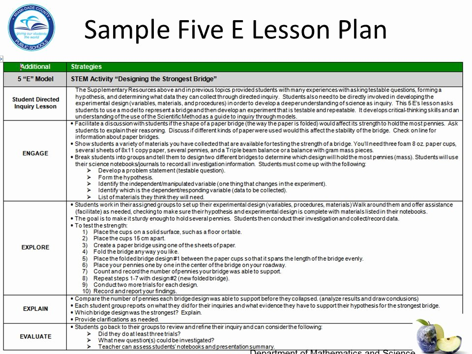 5 E Lesson Plan Template Best Of Department Of Mathematics and Science Ppt Video Online