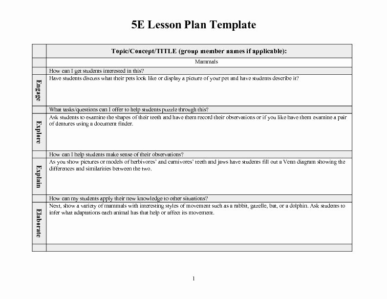 5 E Lesson Plan Template Fresh 5e Lesson Plan Templates – 5 E Lesson Plan Template