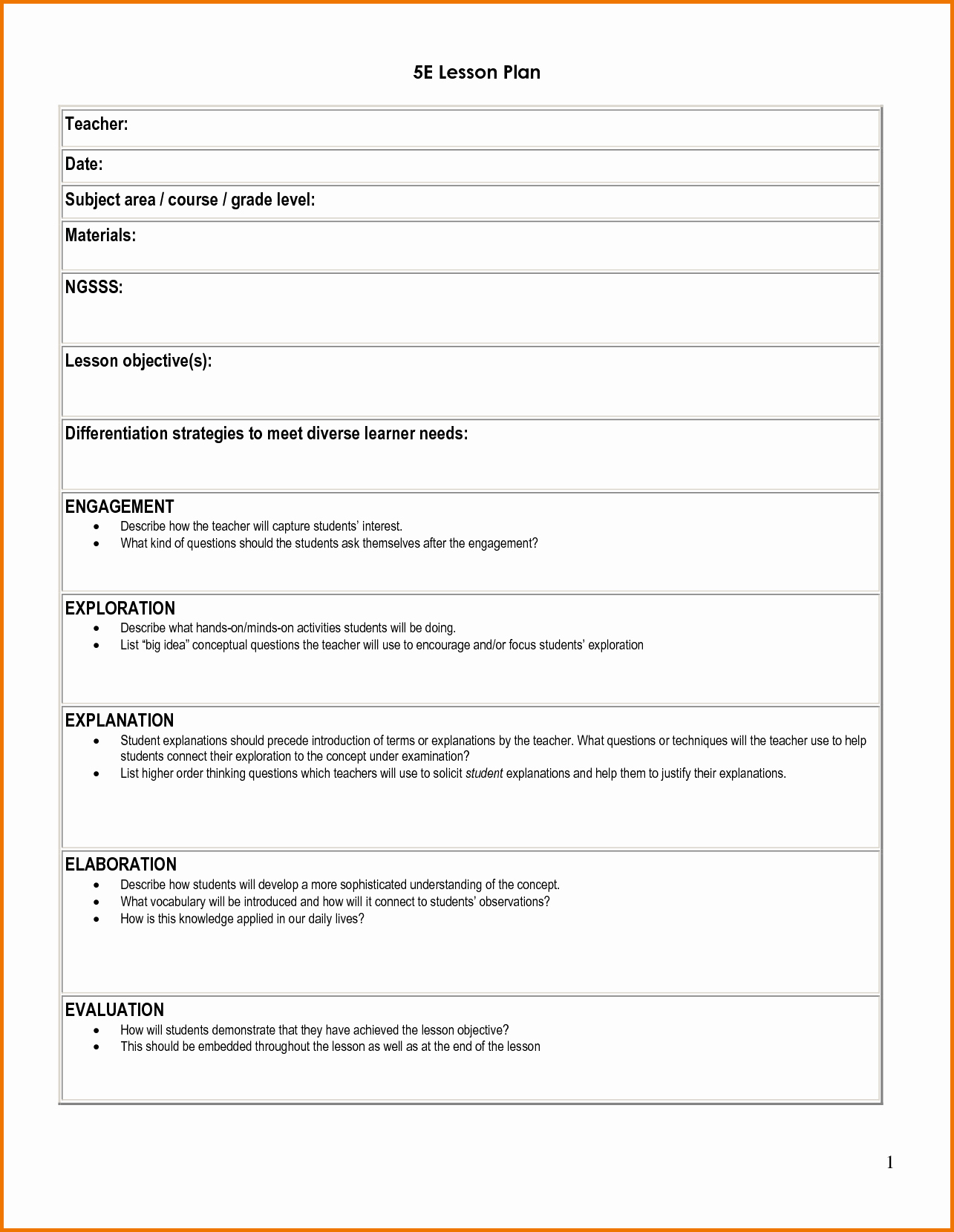 5 E Lesson Plan Template Fresh 5e Student Lesson Planning Template Download as Doc