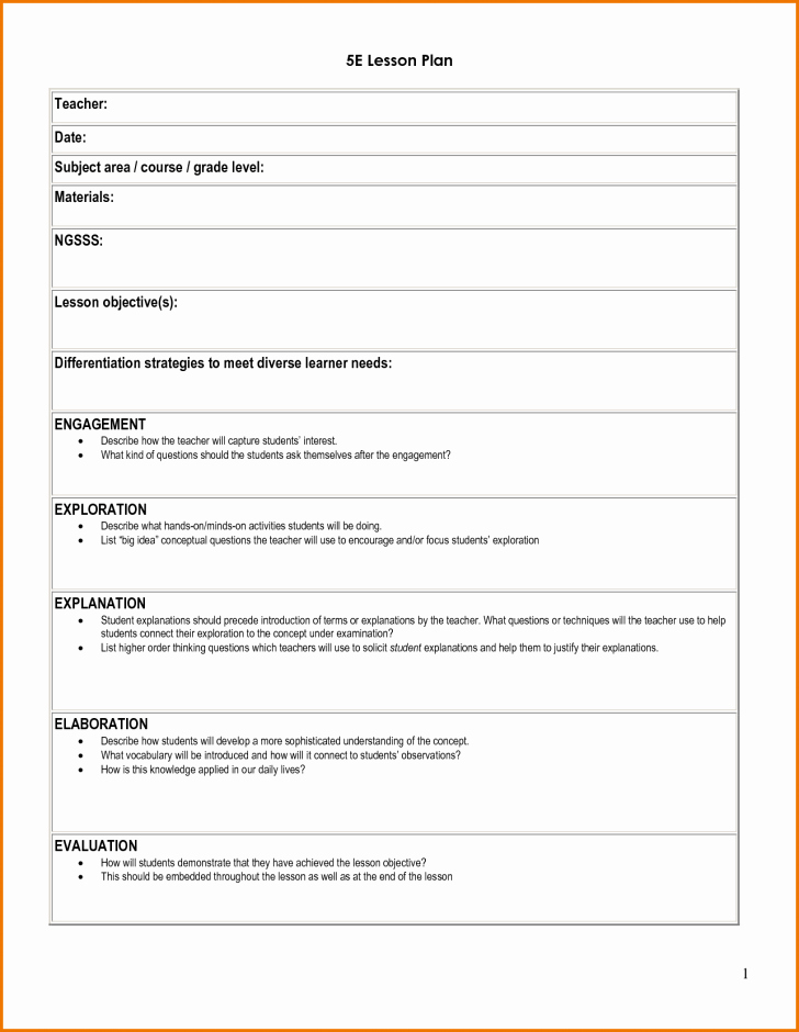5 E Lesson Plan Template Inspirational Modified Lesson Plan Template – Lesson Plan
