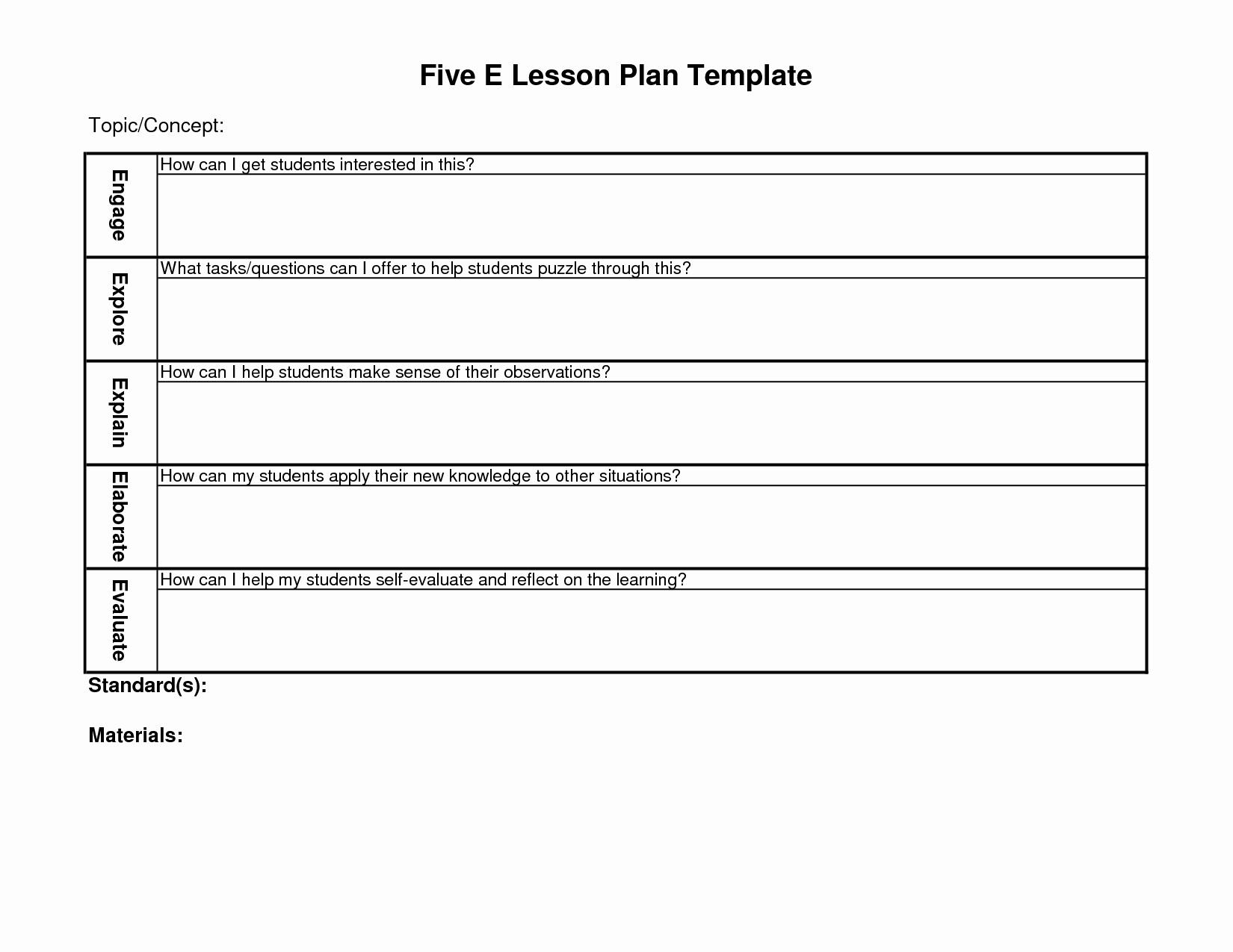 5 E Lesson Plan Template Lovely 5 E Lesson Plan Template