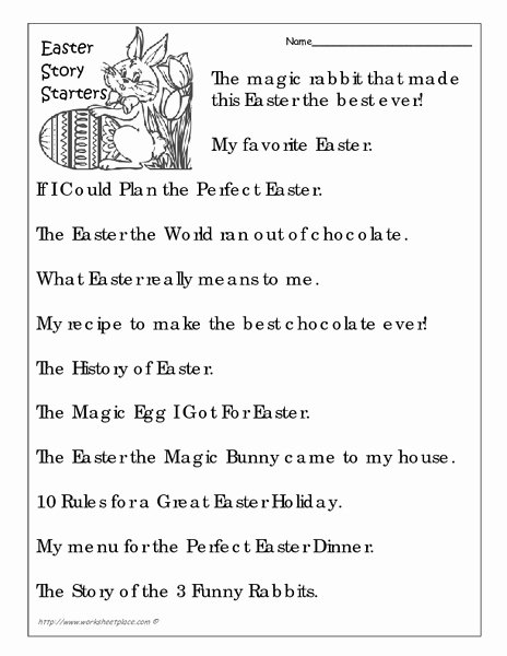 5 E's Lesson Plan Template Unique Easter Story Starters Worksheet for 4th 5th Grade