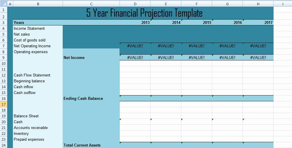 5 year financial projections template xls