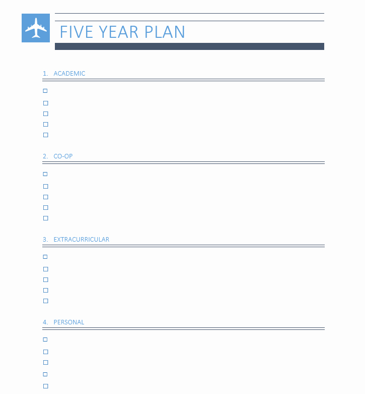 5 Year Plan Template Unique Five Year Plan
