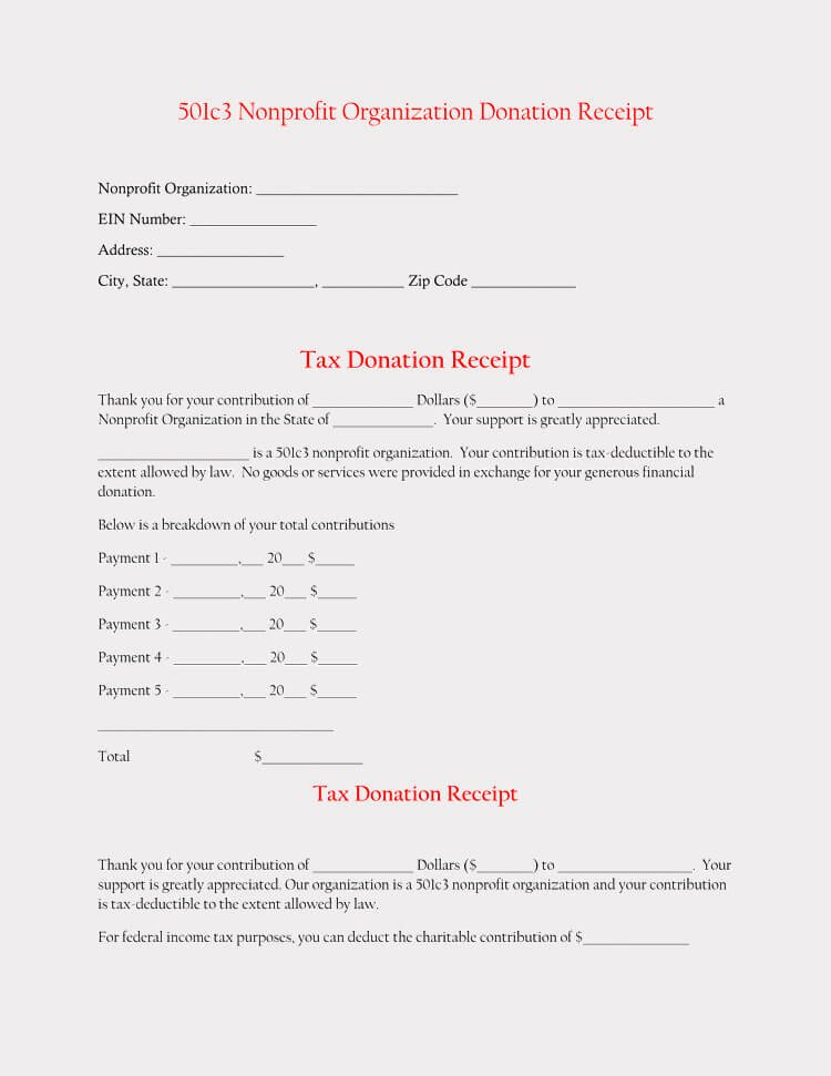 501c3 Donation Receipt Template Best Of 45 Free Donation Receipt Templates & formats Docx Pdf