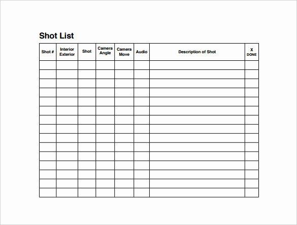 504 Plan Template Pdf Luxury Shot List Templates