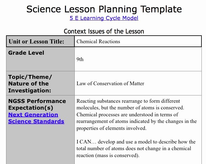 5e Lesson Plan Template Beautiful 5e Learning Cycle Lesson Plan Template