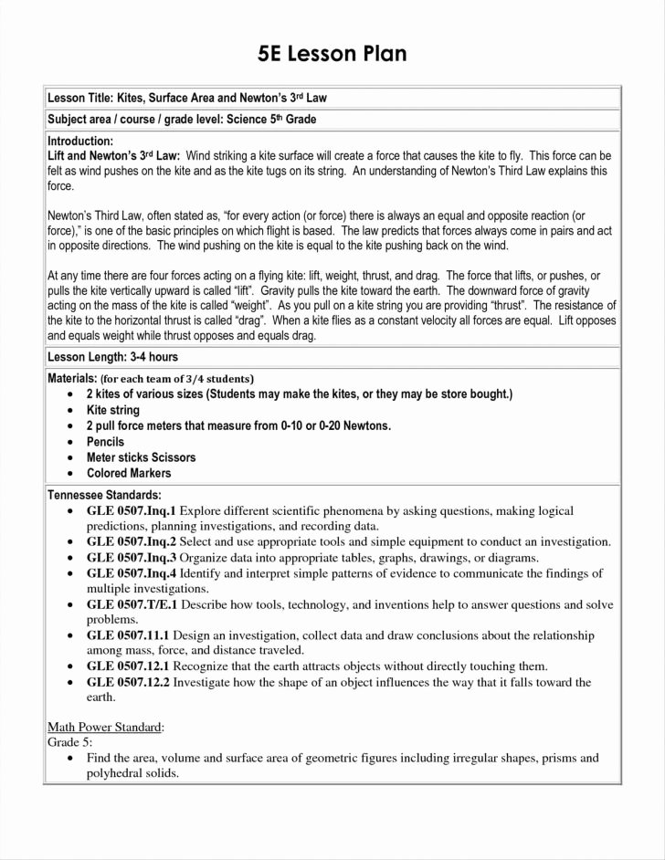 5e Lesson Plan Template Elegant 5e Learning Cycle Lesson Plan Template Amusement Park